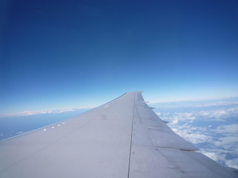 景色・青空・飛行機の羽根