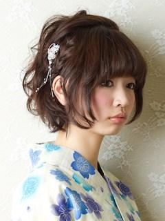 浴衣用のショートの髪型-3