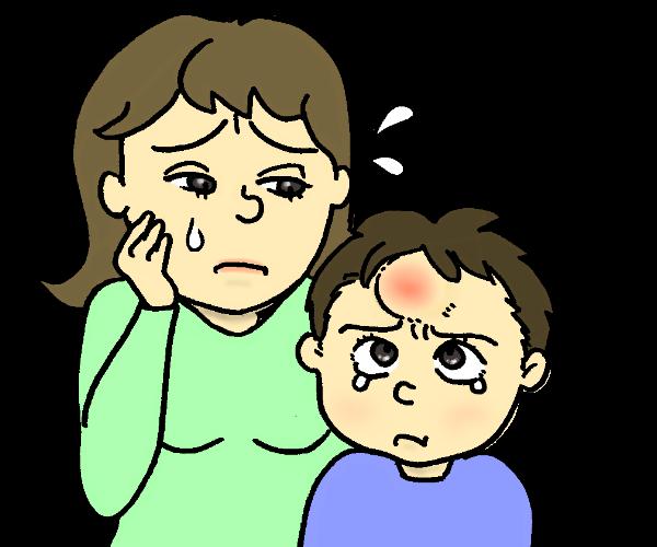 子供が頭を打った時のたんこぶが治らない!強打時の処置と怪我対策について